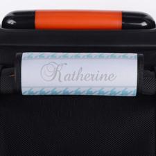 Envoltura de asas del equipaje personalizada con patrón pata de gallo de color aqua