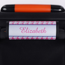 Pink Hounds Tooth Personalized Luggage Handle Wrap