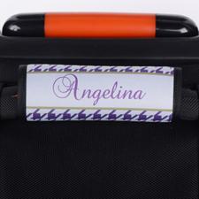 Envoltura de equipaje personalizada de patrón de pata de gallo morado