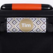 Envoltura de asas de equipaje personalizada de Ikat en gris marrón.