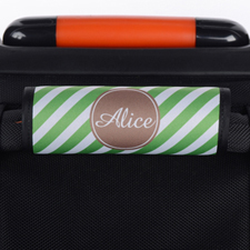 Green Stripe Personalized Luggage Handle Wrap