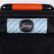 Envoltura de asas de equipaje personalizada con franjas de pavo real