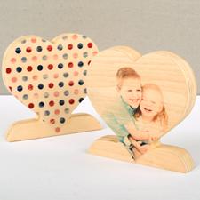 Decoración clásica de madera de puntos de lunares para fotos de corazón