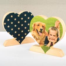 Decoración de corazón con foto personalizada de madera de estrella