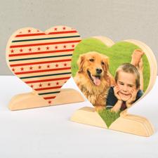 Decoración personalizada de madera con estrellas y rayas para el corazón.