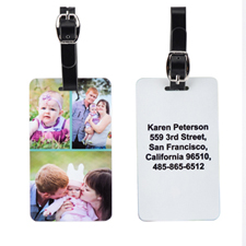 Three Collage with Custom Contact Luggage Tag