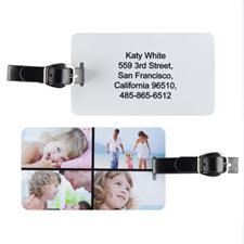 Etiqueta de equipaje personalizada con collage de cuatro