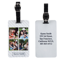 Etiqueta de equipaje personalizada con rayas de collage de cuatro