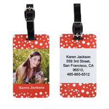 Etiqueta de equipaje con foto personalizada de lunares rojos