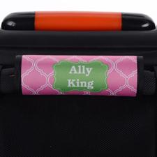 Envoltura de asa de equipaje personalizada de quatrefoil rosa verde