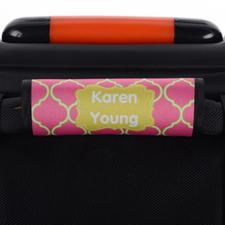 Envoltura de asa de equipaje personalizada de quatrefoil color lima rosa.
