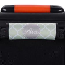 Mint Quatrefoil Grey Personalized Luggage Handle Wrap