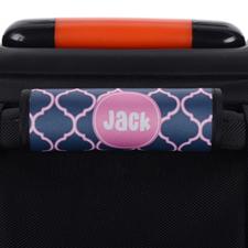 Envoltura de asas de equipaje personalizada de quatrefoil de color rosa marino.