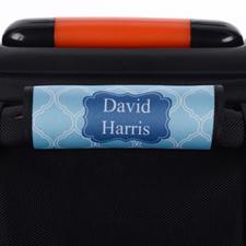 Blue Lime Quatrefoil Personalized Luggage Handle Wrap