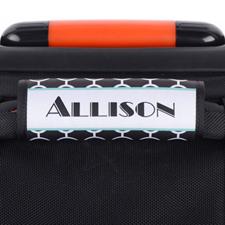Black Circle Aqua Frame Personalized Luggage Handle Wrap