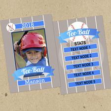 Juego de 12 tarjetas de intercambio de fotos Tee Ball personalizados