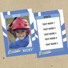 Swirl Baseball personalizados Foto Tarjetas de intercambio azul Set de 12