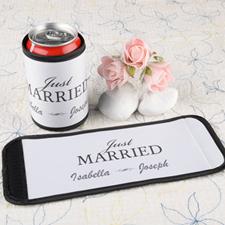 Recién casados Personalizada envoltura de lata o botella  blanco