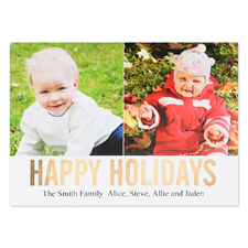 Gold Foil Personalized Two Collage Photo Happy Holidays Flat Card, 5X7