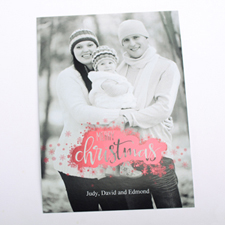 Merry Christmas Snowflake Red Foil Card