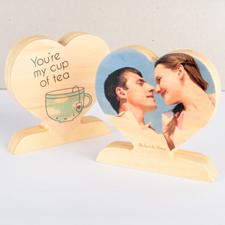 Eres mi taza de té Foto Corazón de madera