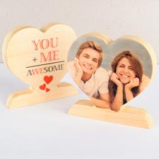 Tú y yo Impresionante corazón de madera para fotos