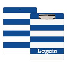 Portapapeles personalizado de rayas blancas azul marino