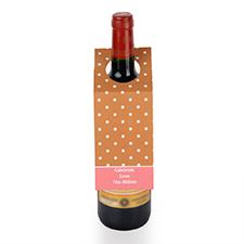 Etiqueta de vino personalizada de lunares marrones, juego de 6
