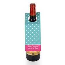 Etiqueta de vino personalizada de lunares azules, set de 6