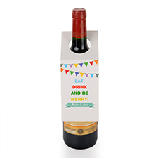 Etiqueta de vino personalizada Eat, Drink and Be Merry, juego de 6