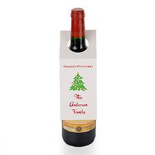 Etiqueta de vino personalizada con Saludo de la temporada Árbol de Navidad, juego de 6