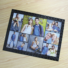 Personalizado negro 9 colage 30.48 cm x 41.91 cm Photo Puzzle