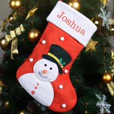 Nombre bordado Muñeco de Nieve Medias de Navidad