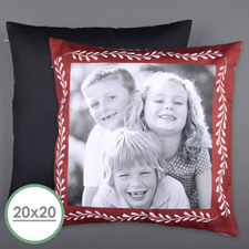 Marco rojo Foto personalizada Funda de almohada grande 50.80 cm x 50.80 cm (sin inserción)