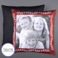 Marco Rojo Foto Personalizada Funda de almohada para fotos 40.64 cm x 40.64 cm (Sin inserto)