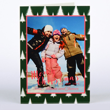 Frosted Tree Personalized Photo Christmas Card, Folded 5X7
