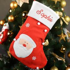 Nombre bordado Medias de Navidad de Santa Claus