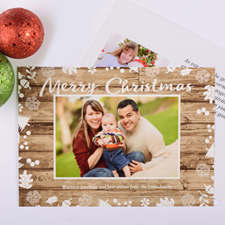 White Floral Personalized Photo Christmas Card