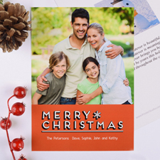 Merry Snowflake Personalized Christmas Photo Card