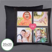 Cuatro Collage y Corazón Almohada fotográfica personalizada 50.80 cm x 50.80 cm Cojín (sin inserto)
