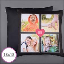 Cuatro Collage y Corazón Almohada fotográfica personalizada 45.72 cm x 45.72 cm Cojín (sin inserto)
