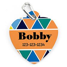 Placa de mascota personalizada con triángulo de colores y en forma de corazón