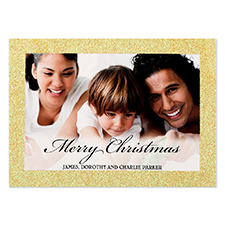 Merry Christmas Gold Glitter Personalized Photo Christmas Card 5X7