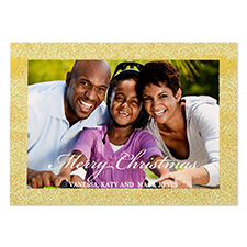 Glitter Gold Border Personalized Photo Christmas Card 5X7