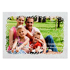 Rejoice Silver Glitter Personalized Photo Christmas Card 5X7