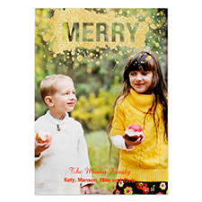 Merry Gold Glitter Personalized Photo Christmas Card 5X7