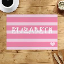 Alfombrilla personalizada de rayas y corazón, rosa
