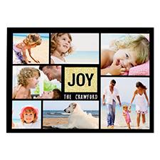 Joy Gold Glitter Personalized Photo Christmas Card 5X7