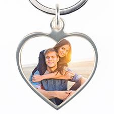 Llavero personalizado con foto metálica de forma corazón