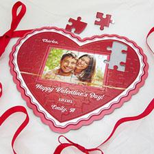 Glowing Love Personalizado Heart Shape Photo Puzzle